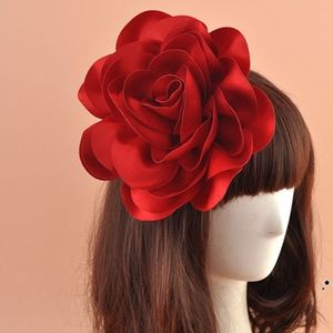 "8"" Extra large Red rose flower hair cloth Clip"
